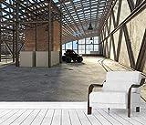 Papel tapiz Mural de pared 3D Fábrica industrial Pared de ladrillo rojo en la fábrica de residuos Taller Hogar Dormitorio Sala de estar Decoración de la pared Fondo 3D Cartel fotos-400X280cm(LxA)