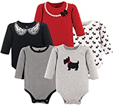 Hudson Baby Unisex Baby Cotton Long-sleeve Bodysuits, Scottie Dog, 12-18 Months