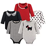 Hudson Baby Unisex Baby Cotton Long-sleeve Bodysuits, Scottie Dog, 6-9 Months US