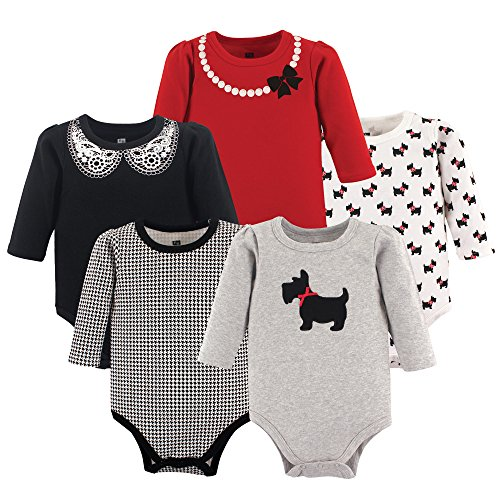 Hudson Baby Unisex Baby Cotton Long-sleeve Bodysuits, Scottie Dog, 3-6 Months US