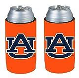 College Team Logo Logo Ultra Slim 12oz Beer Can Holder Insulator Coolers - 2-Pack (Auburn Tigers)