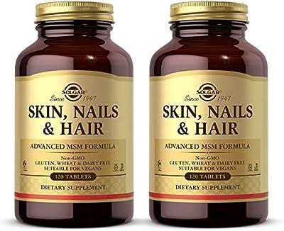 Solgar Skin, Nails & Hair, Advanced MSM Formula, 120 Tablets - 2 Pack - Supports Collagen for Hair, Nail & Skin Health - Provides Zinc, Vitamin C & Copper - Non GMO, Vegan - 120 Total Servings