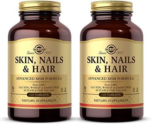 Solgar Skin, Nails & Hair, Advanced MSM Formula, 120 Tablets - 2 Pack - Supports Collagen for Hair, Nail & Skin Health - Provides Zinc, Vitamin C & Copper - Non-GMO, Vegan - 120 Total Servings
