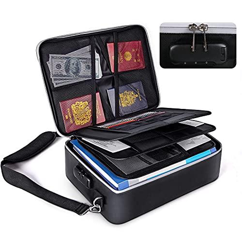 SUFFLA Borsa portadocumenti ignifuga, portadocumenti impermeabile, cassaforte ignifuga con cassetta di sicurezza per casa, ufficio, viaggio con tracolla regolabile, borsa porta soldi per certificati