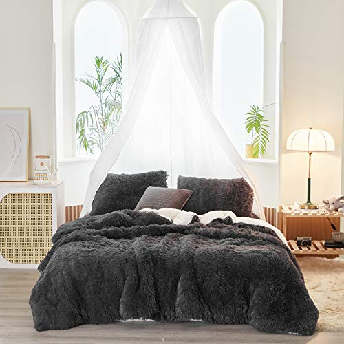 Joyreap 3-Piece Plush Shaggy Comforter Set, Queen Size Luxury Faux Fur Velvet Fluffy Bedding Set for All Season (Dark Gray, 88x88 inches)