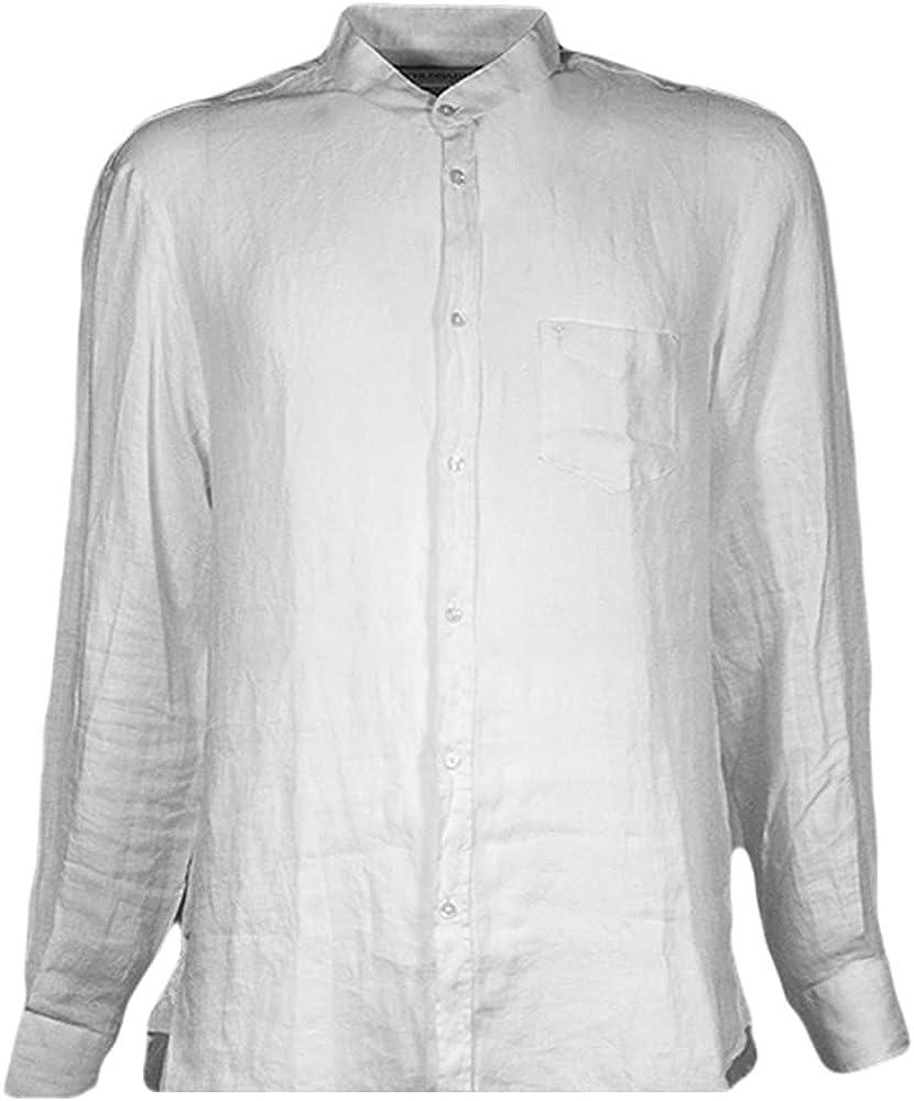 Trussardi jeans, camicia da uomo a maniche lunghe,colletto alla coreana, 100% lino, bianca