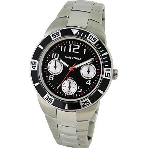 TIME FORCE Reloj De Pulsera Tf-4120B01M Cadete Acero Multifuncion 50M Plateado