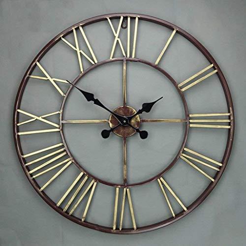 RHJ Horloge silencieuse Restaurant Chambre Horloge Murale Salon Bar Horloge Murale Décoration Murale Creative Vintage Horloge Diamètre 57CM décorez (Taille, 57 * 57cm), 57 * 57cm Horloge RHJ silenci