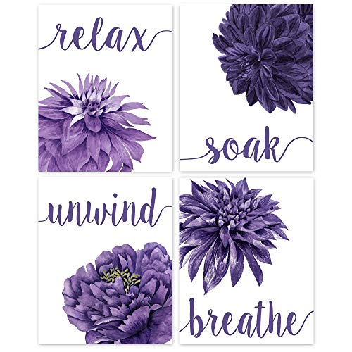 Relax Soak Unwind Breathe Purple Blend Bathroom Flower Prints, Set of 4 (8x10) Unframed Photos, Wall Art Decor Gifts Under 20 for Home, Office, College Student, Teacher, Floral & Yoga Fan