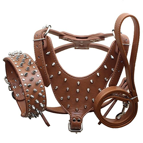haoyueer Leather Spiked Studded Medium & Large Dog Collars, Harnesses & Leashes 3Pcs Matching Set for Pit Bull,Mastiff, Boxer, Bull Terrier(Brown,L)
