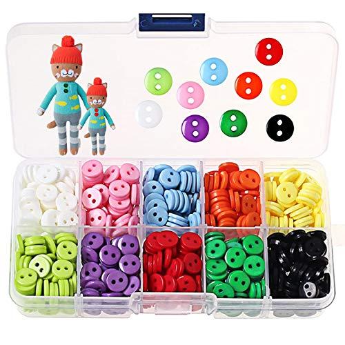 750 Pcs Botones de Colores Surtidos, Colores Mezclados Botones de Resina Redondo con...
