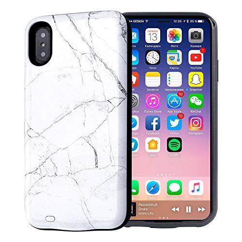 KERTER 6000 mAh batería caso para iPhone XR, diseño de mármol blanco recargable extendido cargador caso portátil protector para iPhone XR