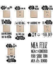9pcs Pegatinas Pared para Interruptor de Luz Enchufes + 1pcs Pegatinas Vinilos Frases para Indoro Lavabo Baño Stickers Pegatinas Españoles Retrete Adhesivos Decorativos Habitación Dormitorio Salón