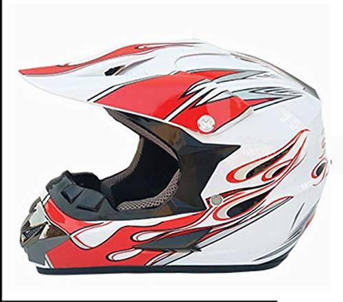 Casco de motocicleta Casco de moto Carreras de carretera Casco off-road Bicicleta de montaña Casco completo Casco de campo a través for enviar y gafas Máscara de guantes ( Color : Red , Size : XL )