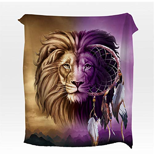 Xzfddn Manta de coral manta de franela de lobo para camas 3D Animal impreso colchas de felpa púrpura