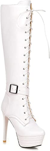 Bottes Femme Femme Talon Fin surélevé avec Plateforme étanche Bottes Knight Grand Format 40-45, Blanc, 34  sortie d'usine