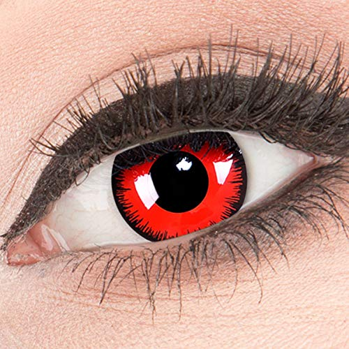 Funnylens Rote Kontaktlinsen Red Lunatic MIT STÄRKE - 1 Paar Farbige Crazy Fun Motivlinsen inkl. Behälter -1,50