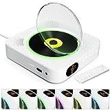 KOVCDVI Reproductor de CD con Luces de Fondo y Bluetooth y Cubierta Antipolvo Altavoces incorporados Reproductores de CD con Control Remoto Radio FM Admite Reproducción para USB y Tarjeta TF y AUX