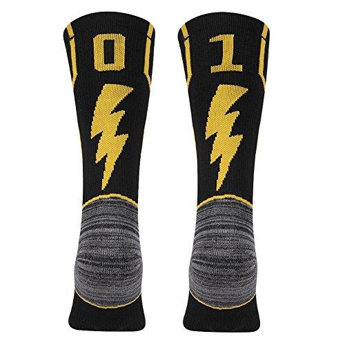 KitNSox - Calcetines de media pantorrilla para adultos, color dorado y negro - FCA10L, Large Mens Womens(Shoe Size: 10-13), 01 o 10 número de equipo negro y dorado