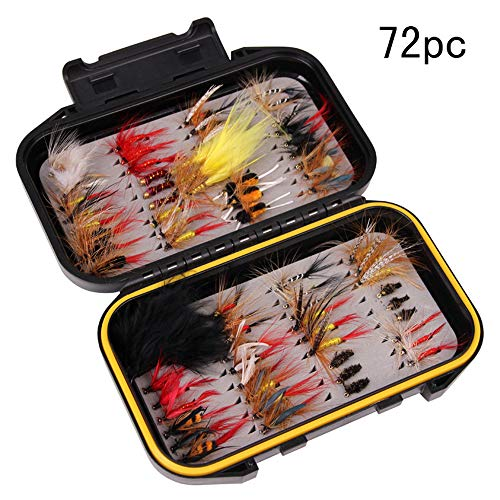 LAEMALLS 72pcs Fliegenfischen Köder Set mit wasserdichte Box, Fliegen Form Angeln handgebunden Fliegen Köder, lebensecht Nymphe für Hecht Zander Angeln Barsch Forelle Dorsch#5