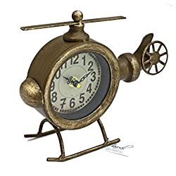 ArtFuzz Helicopter Table Clock 9X2.75X7