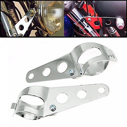 Paar Universal Motorrad Scheinwerferhalter Halterungen Lampenhalter Für 33mm-39mm Gabel Ohren Halterung Chrom