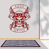 ASFGA Autocollant Mural de Bande dessinée et Casque Service de Voiture Silhouette Mur Autocollant de Voiture Service de Voiture Garage Mur Art décoration 43x57 cm