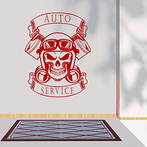 YuanMinglu Cráneo y Casco Auto Service Silueta Etiqueta de la Pared Servicio de automóviles Garaje Wall Art Deco 74x96cm