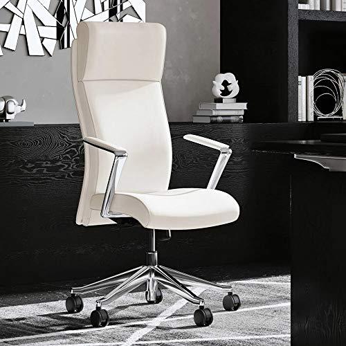 Modern Ergonomic Draper Genuine Leather Executive Chair with Aluminum Frame - White