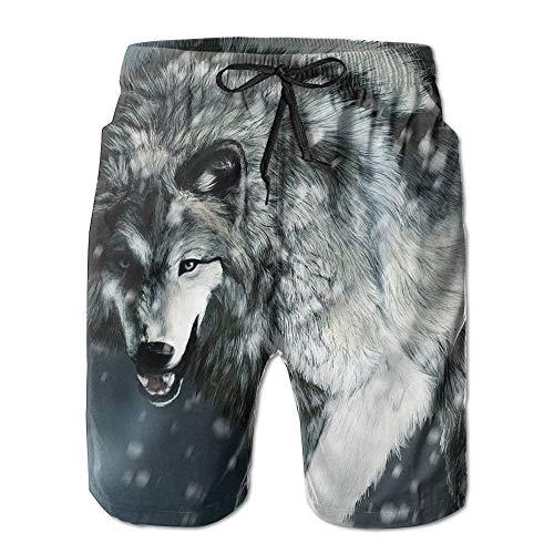 ZHIZIQIU Men's Shorts Swim Beach Trunk Summer Wolf Snow Wind Casual - L