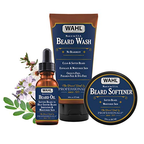 Wahl Beard Oil, Wash & Softener Combo Kit with Essential Oils for Men - Moisturizes, Exfoliates & Soothes Skin Irritation with Manuka Oil, Meadowfoam Seed Oil, Clove Oil & Moringa Oil