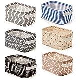 EZOWare 6 Pcs Foldable Storage Bins Baskets, Collapsible Fabric Shelf Organizer...