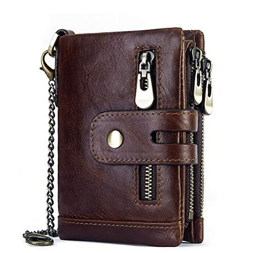 FENICAL Brieftasche Anti-Diebstahl-Brieftasche Dreifach-Multi-Karten-Position Geldbörse für Frauen Männer - braun
