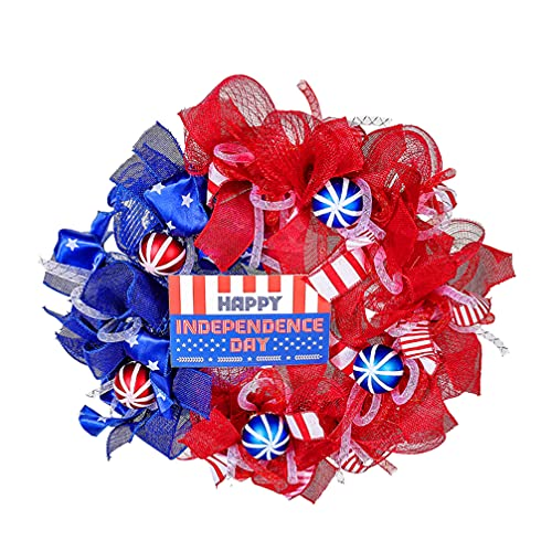 VALICLUD Coronas Patrióticas Americanas 4 de Julio Día de La Independencia Corona de Anillo Guirnalda para El Día de Los Caídos Bandera Día de Los Estudiantes Puerta Frontal Ventana