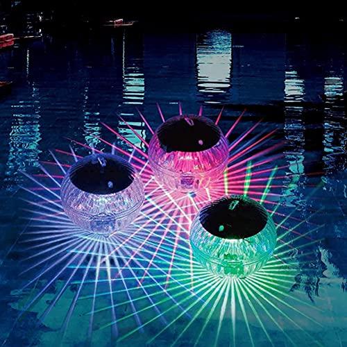 LNIBA Luces Solares Flotantes para Piscinas, Luz Solar LED para Estanque al Aire Libre, Lámparas Solares Multicolores para Jardines y Piscinas,Decoración del Patio del Jardín