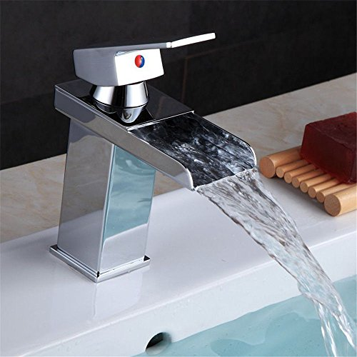 SADASD Grifo de Lavabo de Acero Inoxidable para baño de Color Cobre, de la Marca, Solo Mango. Grifo Monomando para Lavabo de Cascada Cuadrado con Manguera G1/2.
