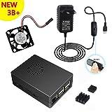 5V 3000mA Cargador alimentación+caja negra ABS Carcasa + disipador de calor + ventilador para Raspberry Pi 3 Modelo B + Plus