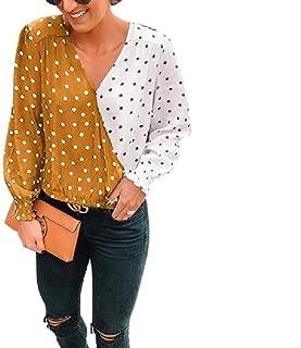 Mogogo Womens V Neck Stitching Polka Dot Long Sleeve Casual Tee Shirt Tunic