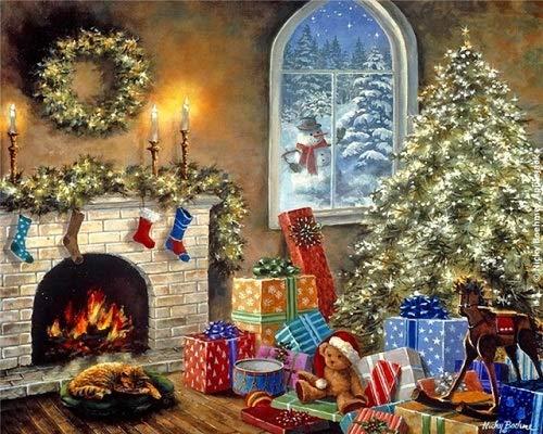XCMDSM Calcetines y Regalos navideños Pintar por numeros DIY Conjunto Completo de Pinturas Pintura al óleo de Bricolaje Adultos Principiantes y niños 40x50 cm(Sin Marco)