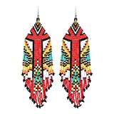 Luluping Long Beaded Dangle Earrings – Boho Native Handmade Seed Bead Tassel Earrings for Women, Bohemian Large Statement Beaded Drop Fringe Earrings (Multicolor Beaded Earrings)