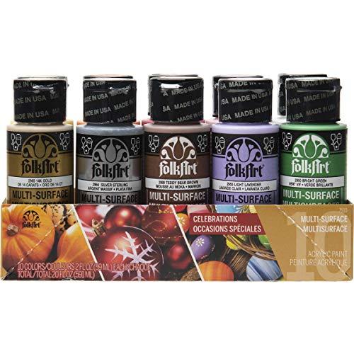 FolkArt 7501, Multi-Surface Juego de 4 botellas de pintura acrílica, 2oz
