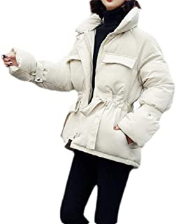 Macondoo Womens Puffer Loose Thicken Winter Stand Collar Cotton-Padded Down Jackets