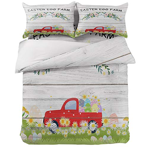 Full Duvet Cover Set 4Pcs, Easter Truck with Eggs and Spring Flowers Luxury Soft Bedding Sets Bed Sheets Quilt Covers with 2 Pillow Shams for Kids/Teens/Women/Men Bedroom Decor Wooden Board