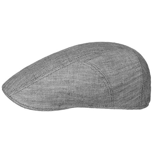Stetson Herringbone Leinen Flatcap Schirmmütze Herren - Leinencap mit UV-Schutz 40 - Herrencap Made in EU - Mütze mit Baumwollfutter - Schiebermütze Frühjahr/Sommer - Flat Cap grau 57 cm
