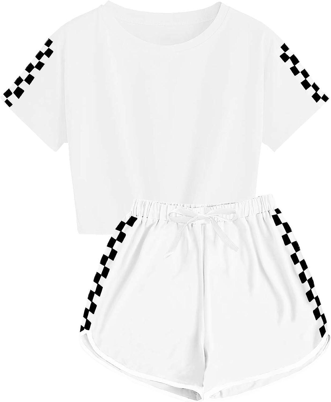 CNJFJ Kids Summer Sport T-Shirt and Shorts Set Plaid Print Clothing Sets Tracksuit