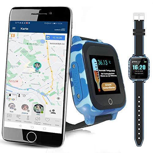 CALMEAN Care Digital - Reloj inteligente para niños, con medición de temperatura para niños, seguimiento triple (GPS+ LBS + WiFi), aplicación para iOS y Android, impermeable (IP67)