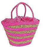 Manzanilla Milano - Bolsa de cesta de paja a rayas con lunares fucsia de mimbre para playa