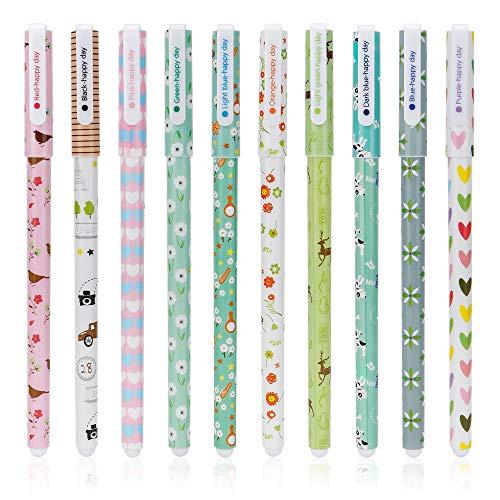 Gobesty - Bolígrafos de gel infantiles, coloridos y bonitos dibujos animados, para estudiantes Kawaii, tinta de gel multicolor, para escribir y dibujar regalos, paquete de 10, color Animal.