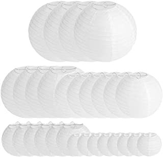 28 Packs White Paper Lanterns Decoration for Weddings Birthdays Parties and Events - Assorted Round Sizes (4681012)