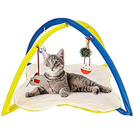 a cat activity center with 4 hanging toys and a lambswool rug